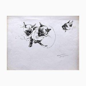 Marie Paulette Lagosse, The Cat, Pen on Paper, años 70