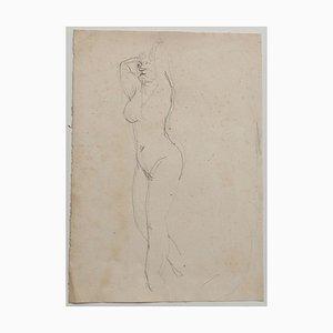 Jeanne Daour, desnuda, dibujo a lápiz, 1939