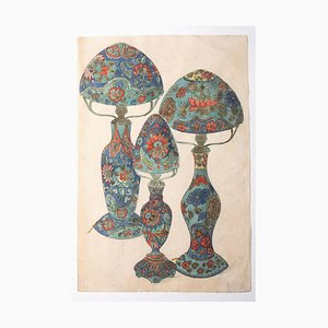 Unknown, Porcelain Lamps, Watercolor on Paper, 1880s