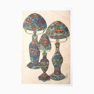 Desconocido, Lámparas de porcelana, Acuarela sobre papel, década de 1880