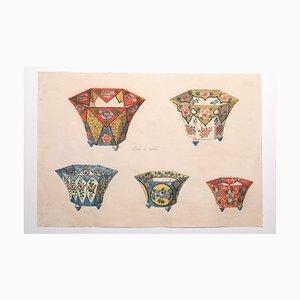 Jarrones de porcelana desconocidos, acuarela, década de 1880