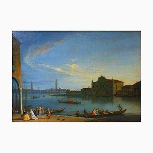 Johan Richter, Vue de la lagune avec l'île de Murano, huile sur toile
