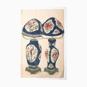 Desconocido, lámparas de porcelana, tinta y acuarela, década de 1880