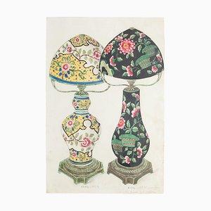 Lámparas, porcelana y tinta desconocidas de porcelana, década de 1880