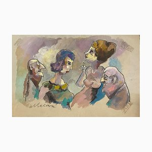 Mino Maccari - the Couples - Original Drawing - 1960