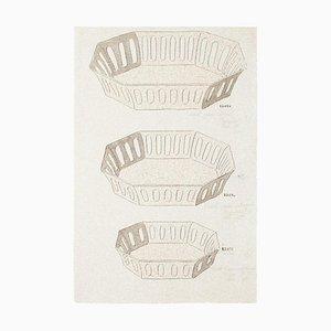 Inconnu - Vases en porcelaine - Aquarelle originale et encre de Chine - 1880