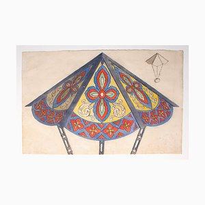 Desconocido - Lámpara de techo - Acuarela original - 1880