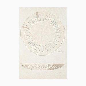 Inconnu - Assiette - Aquarelle et encre de Chine originales - 1880