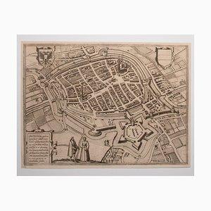 Acquaforte George Braun - Mappa di Groningen - Incisione originale - Fine XVI secolo