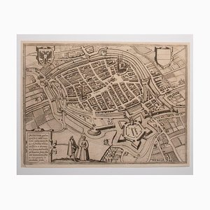 George Braun - Map of Groningen - Original Etching - Late 16th Century