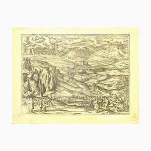 Franz Hogenberg - Karte von Alhama - Radierung - Ende des 16. Jahrhunderts