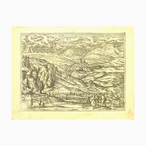 Franz Hogenberg - Map of Alhama - Etching - Late 16th Century