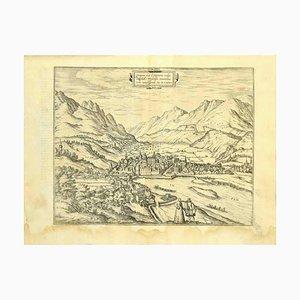 Franz Hogenberg - Carte d'Innsbruck - Gravure à l'Eau forte - Fin du 16ème Siècle