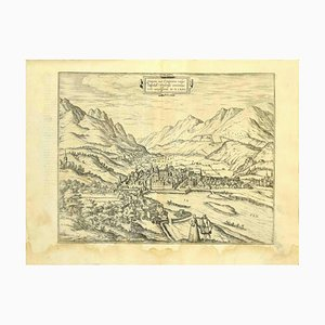 Franz Hogenberg - Plan d'Innsbruck - Eau-forte - Fin du XVIe siècle