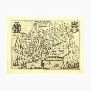 Franz Hogenberg - Map of Embden - Original Etching - Late 16th Century