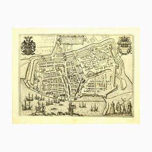 Franz Hogenberg - Plan d'Embden - Gravure originale - Fin du XVIe siècle