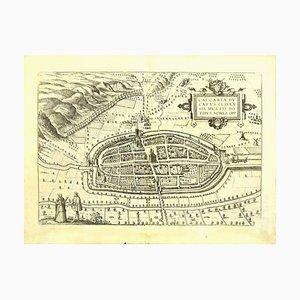 Franz Hogenberg - Preis - Landkarte von Kalkar - Radierung - Spätes 16. Jahrhundert
