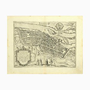 Franz Hogenberg - Map of Magdeburg - Etching - Late 16th Century