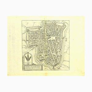 Franz Hogenberg - Plan d'Ypres - Eau-forte - Fin du XVIe siècle