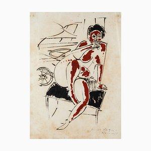 Pericles Fazzini - Desnudo - Litografía original - 1958