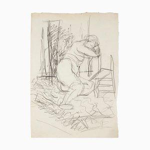 Jeanne Daour - Akt - Originalzeichnung mit Bleistift - Mitte des 20. Jahrhunderts