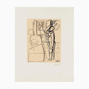 Mario Sironi - Interior con figura - Litografía original - Mediados del siglo XX