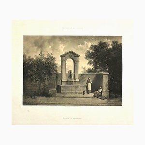 Antonio Fontanesi - Genfer Innenraum - Original Lithographie - 19. Jahrhundert