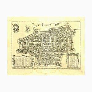 Franz Hogenberg - Carte d'Augsburg - Gravure à l'eau-forte - Fin du 16ème Siècle