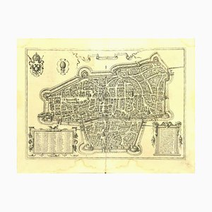 Franz Hogenberg - Map of Augsburg - Etching - Late 16th Century