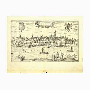 Franz Hogenberg - Map of Nijmegen - Etching - Late 16th Century