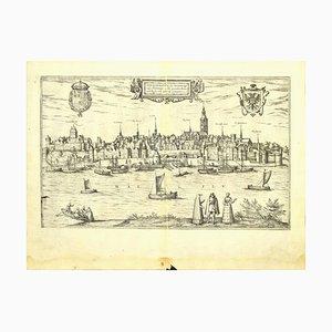 Franz Hogenberg - Plan de Nimègue - Eau-forte - Fin du XVIe siècle