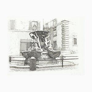 Giuseppe Malandrino - Fountain of the Turtles - Original Etching - 1970s