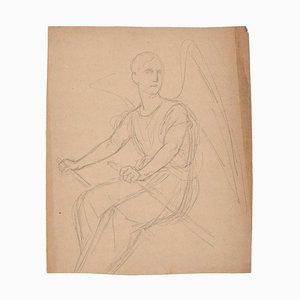 Inconnu - Ange aviron - Dessin original au crayon - Début du XXe siècle
