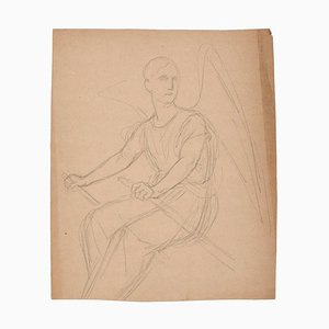 Unknown - Angel Rowing - Original Pencil Drawing - Early 20th Century