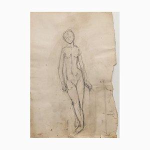 Jeanne Daour - Nu - Dessin original au crayon - Milieu du XXe siècle
