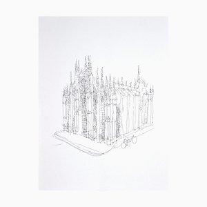 Franco Gentilini - la cathédrale - Photolithographie originale - années 1970