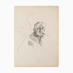 Inconnu - Portrait - Dessin original au crayon - 1950