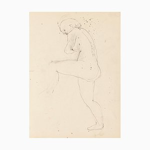 Jeanne Daour - Nude - Original Drawing in Pencil - Mid-20th Century