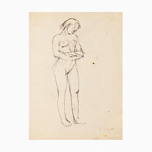 Jeanne Daour - Prezzo_Nude - Original Drawing in Pencil - Mid-20th Century