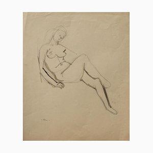 Jeanne Daour - Desnuda - Dibujo original a lápiz - Mediados del siglo XX