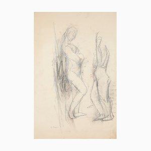 Jeanne Daour - Akt - Original Zeichnung in Bleistift - Mitte des 20. Jahrhunderts