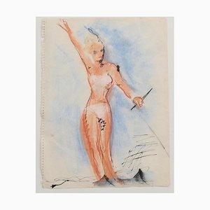 Desconocido - Bañista - Dibujo original - Mediados del siglo XX