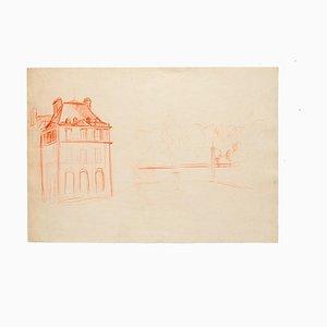 Desconocido - Estudio para una villa - Dibujo a lápiz original - Mediados del siglo XX