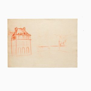 Unknown - Study for A Villa - Original Pencil Drawing - Mid-20th Century