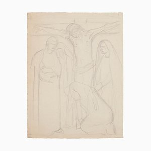 Desconocido - Boceto de la crucifixión - Dibujo original a lápiz - 1950