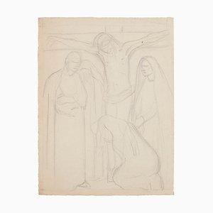Inconnu - Esquisse pour la Crucifixion - Dessin original au crayon - 1950