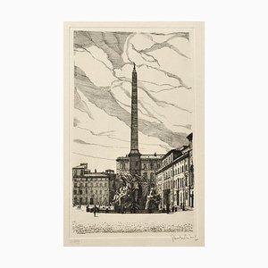 Giuseppe Malandrino - Navona Square - Original Etching - 1970