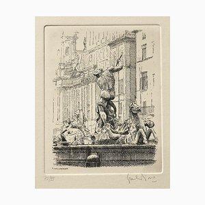 Giuseppe Malandrino - Navona Square, the Triton Fountain - Etching - 1970
