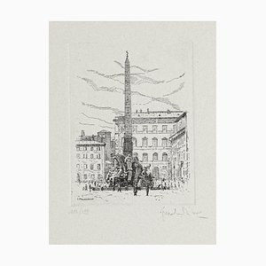 Giuseppe Malandrino - Navona Square-Fountain of the Four Rivers-Rome- Etching - 1970s