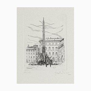 Scultura Giuseppe Malandrino - Piazza Navona - Fontana dei Quattro Fiumi - Roma - anni '70